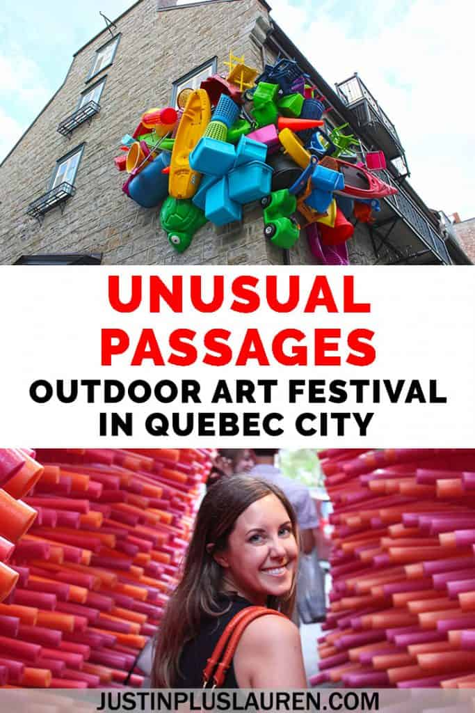 Passages Insolites, or Unusual Passages, is an annual art festival in Quebec City. There are conceptual and interactive outdoor art installations to discover all over Old Quebec. It's completely free and runs all summer long! #QuebecCity #Quebec #Art #OutdoorArt #PublicArt #ArtFestival