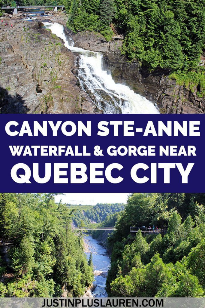 Canyon Sainte-Anne is a short drive from Quebec City. You'll find a beautiful waterfall, enchanting gorge, and multiple swinging bridges to walk across. It's a great place to spend outdoors and a bit of an adventure, too. #Quebec #QuebecCity #CanyonSainteAnne #Beaupre #Travel #Canada