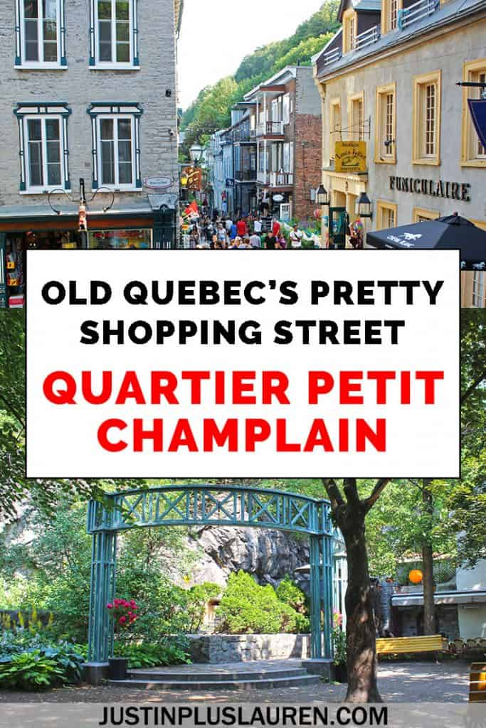 When you visit Quebec City, you must see the iconic Quartier Petit Champlain! It's a shopping district in Old Quebec with unique shops, beautiful little parks, and wonderful restaurants. There are historic buildings and brightly painted windows and doors. It's one of the prettiest places in Quebec City, hands down. #QuebecCity #Quebec #Canada #QuartierPetitChamplain #OldQuebec