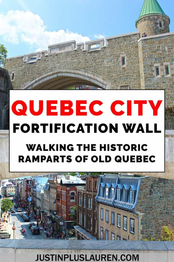 Walking the Quebec City fortification wall: It's a must do activity in Old Quebec! You can walk along the old ramparts of Quebec City to see some living history and beautiful views. Here's our guide to the Quebec City walls, Canada's Great Wall! #Canada #QuebecCity #Quebec #OldQuebec #Ramparts #Fortification