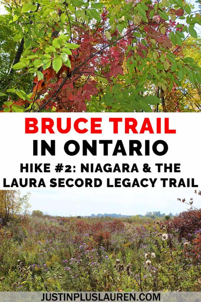This section of the Bruce Trail in Niagara Falls travels through forests, meadows, and lines up with sections of the Laura Secord Legacy Trail. Learn more about how to hike a portion of this amazing 900km trail in Ontario, Canada! #Hiking #Hike #BruceTrail #Canada #Ontario #NiagaraFalls