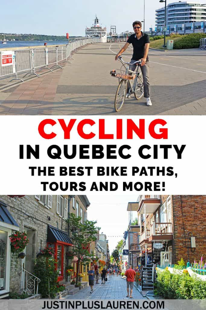 Where to go cycling in Quebec City: Going biking in Quebec City is one of the top activities. There are many bike paths in Quebec City along rivers that lead to waterfalls and beautiful scenery. I'll show you the best bike paths, bike tours, and how to add a bike ride to your trip itinerary! #QuebecCity #Biking #Quebec #Cycling #Travel #BikeTour #BikePath