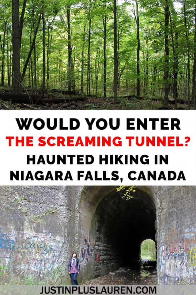 Would you hike through a haunted tunnel? The Screaming Tunnel in Niagara Falls is reportedly haunted by the ghost of a girl. It's right on the Bruce Trail, and there are some other interesting spots on this hike, too. #BruceTrail #Hiking #Haunted #HikingTrails #ScreamingTunnel #Niagara #Ontario