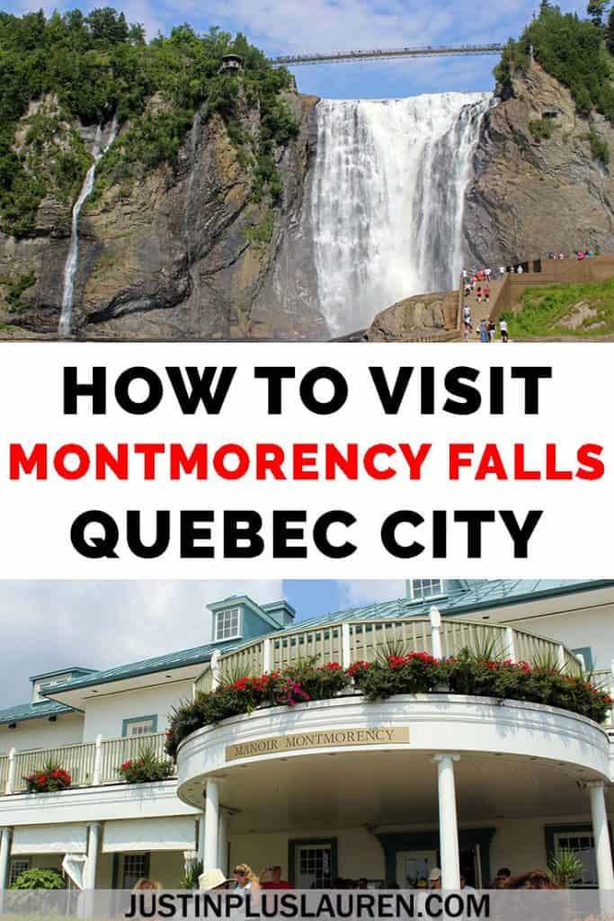 Montmorency Falls in Quebec City is one of the most beautiful waterfalls in Canada! We'll show you how you can plan your day trip to Montmorency Falls from Quebec City. #QuebecCity #MontmorencyFalls #Waterfall #Quebec #Canada