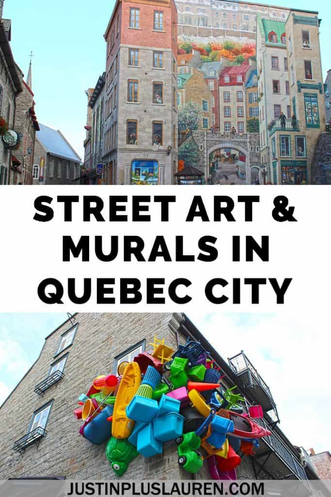 Did you know there's tons of art in Quebec City? This is a guide to the best murals, outdoor art, and street art in Quebec City. #QuebecCity #Quebec #Canada #StreetArt #Murals