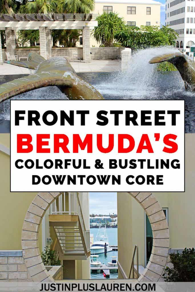When you travel to Bermuda, you can't miss visiting Front Street in the city of Hamilton. It's a bustling place with the best restaurants, cafes, bars, and shops. There's also amazing architecture and colorful, pastel buildings. Here's our guide to Front Street in Bermuda! #Bermuda #Island #Caribbean #FrontStreet #Travel