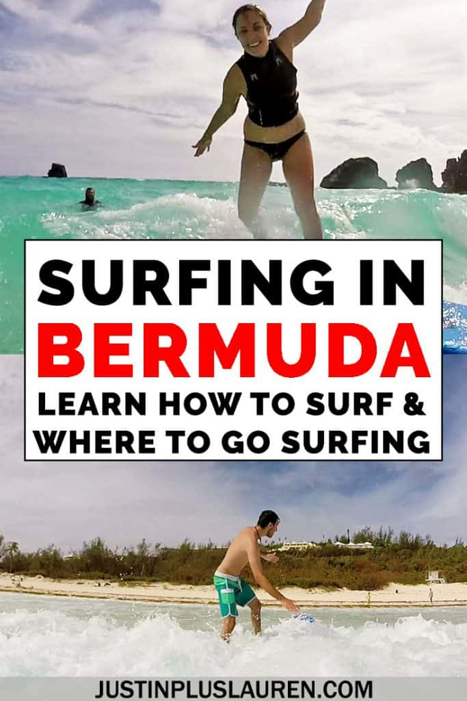 Did you know that Bermuda is an amazing surfing destination? It's easy to go surfing in Bermuda, even if you've never tried the sport before. Here are our experiences trying surfing for the first time in Bermuda! #Bermuda #Surf #Surfing #WaterSports #Island