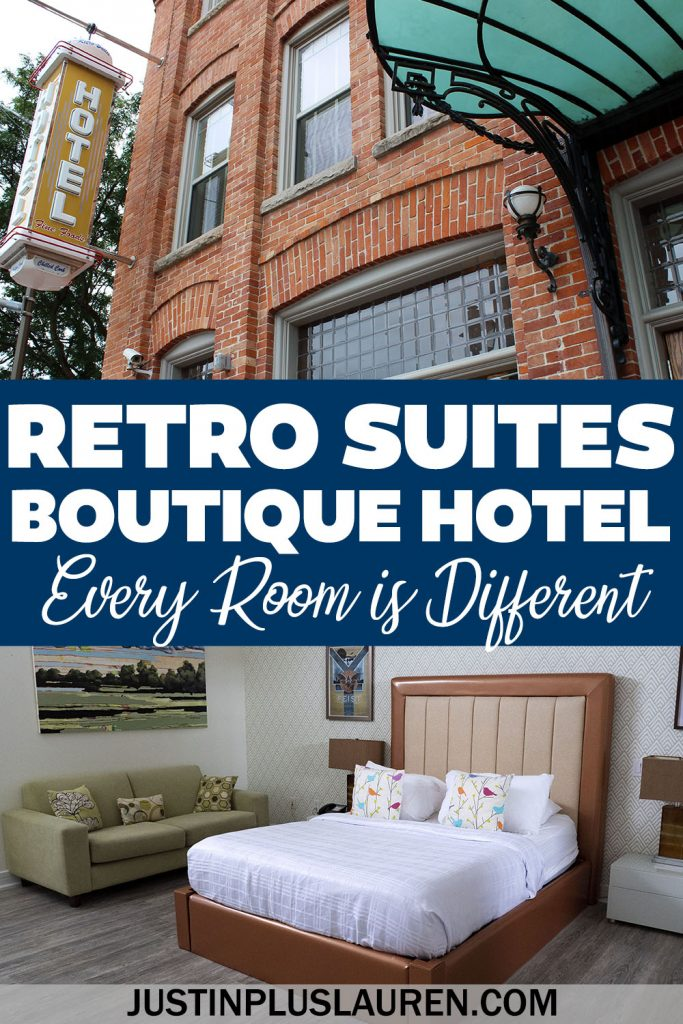 This is one of the coolest hotels I've ever stayed at! The Retro Suites Hotel in Chatham, Ontario is a boutique hotel that's a cross between an art gallery and an antique store. Every room is uniquely decorated, too!