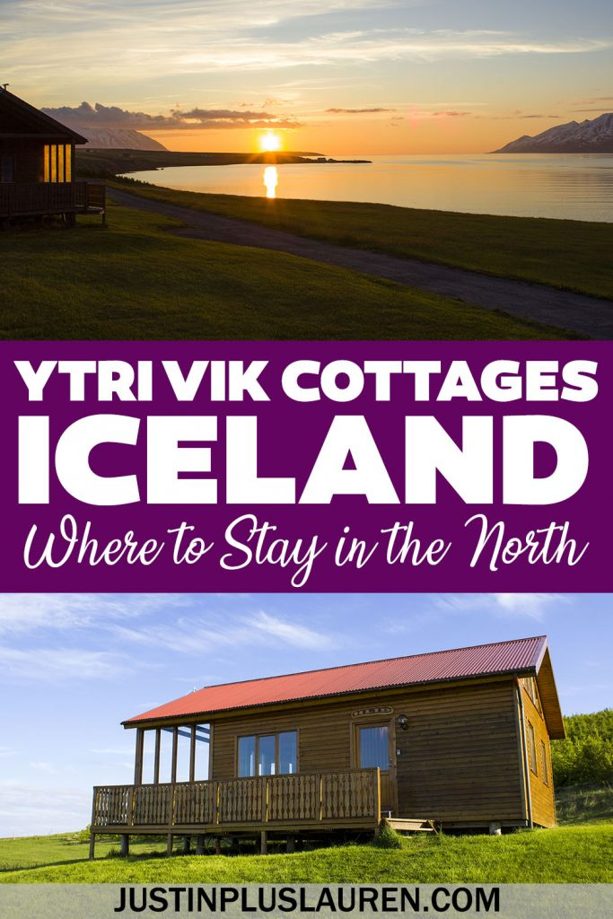 Ytri Vik Cottages is one of the most amazing places to stay in Iceland! These wooden cabins are in North Iceland near Akureyri. You're staying right on the edge of a fjord with mountains in the distance. Here's why it's one of the best accommodations in Iceland.