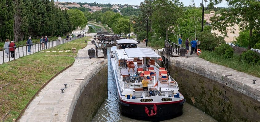 Fonserannes Locks on the Canal du Midi