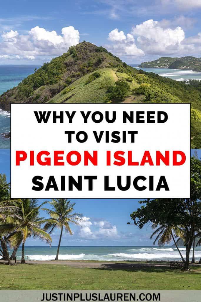 Pigeon Island is a day trip in Saint Lucia that you absolutely must take! Pigeon Island National Landmark / Pigeon Island National Park has incredible scenery, a beautiful beach, and an interesting history. #SaintLucia #StLucia #Caribbean #Travel #PigeonIsland #Hiking #Beach #History