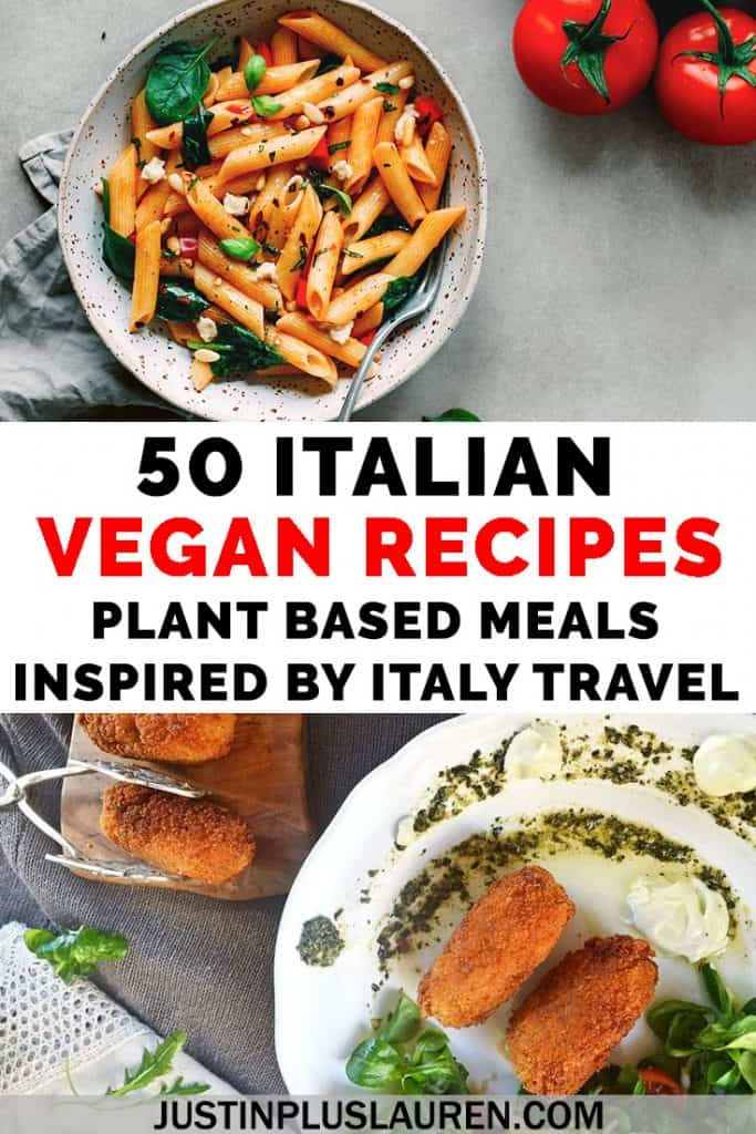 Dreaming of Italy? You can prepare these Italian favorites at home without leaving your kitchen. Here are 50 vegan Italian recipes based on traditional favorites, like pizza, pasta, gnocchi, soups, veggies, and even dessert. #Vegan #Vegetarian #Recipes #Italian #Food