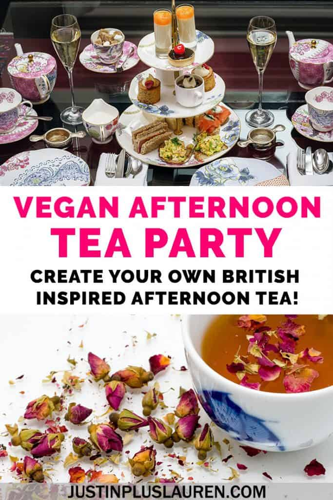 Want to host your own British afternoon tea party? Here's an all vegan afternoon tea that you'll love. You'll learn how to set the scene, which kinds of tea to serve, and the best vegan finger sandwiches, scones, pastries and cakes! #Vegan #AfternoonTea #England #British #VeganTea
