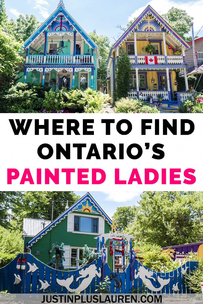 There are charming and adorable gingerbread cottages in southern Ontario near Toronto, Hamilton, and Niagara. These are Ontario's Painted Ladies, bright and colorful Victorian homes. You can find these colorful gingerbread cottages in Grimsby Beach, Ontario. #Grimsby #Ontario #Canada #PaintedHouses #ColorfulHomes #GingerbreadCottages